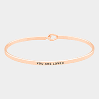 You Are Loved Brass Thin Metal Hook Bracelet