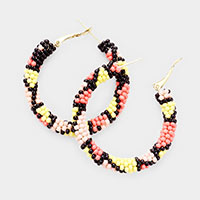 Colorful Seed Bead Patterned  Hoop Earrings