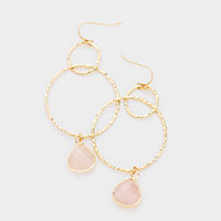 Semi Precious Stone Open Circle Link Drop Earrings