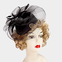 Feather embellished mesh veil fascinator