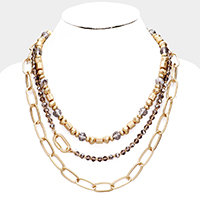 Multi Bead Chain Layered Necklace