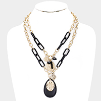 Teardrop Multi Pendant Chain Layered Necklace