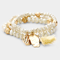 3PCS - Shiny Gold Bead Tassel   Stretch Layered Bracelets