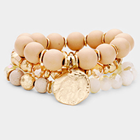 3PCS - Wood Ball Multi Bead  Charm Layered Stretch Bracelets