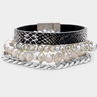 4PCS - Snake Skin Faux Leather Chain Beaded Layered Bracelets