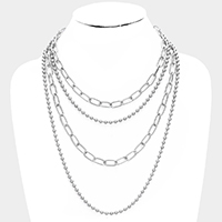 Metal Chain Ball Layered Necklace