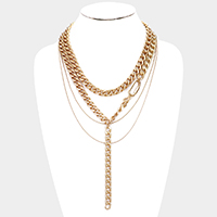 Metal Chain Layered Drop Necklace