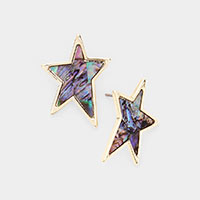 Mother of Pearl Abalone Star Stud Earrings