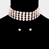 Crystal Rhinestone Accented Choker Necklace