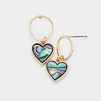 Abalone Heart Dangle Open Circle Earrings
