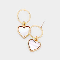 Mother of Pearl  Heart Dangle Open Circle Earrings