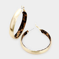 Inner Leopard Fur Metal Hoop Earrings