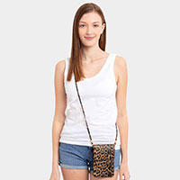 Leopard Print Touch View Cell Phone Cross Bag