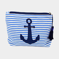Stripe Anchor Pattern Tassel Pouch Bag