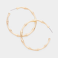 Bamboo Feel Metal Hoop Earrings