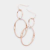 Irregular Open Circle Metal Drop Earrings