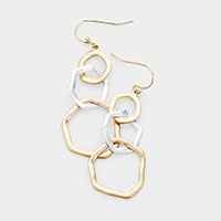 Irregular Metal Open Circle Drop Earrings