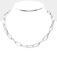 Open Circle Chain Link Metal Toggle Necklace