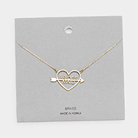 Brass Metal Brides Maid Heart Pendant Necklace