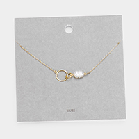 Brass Metal Freshwater Pearl Open Circle Pendant Necklace