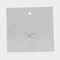 Brass Metal Heart Infinity Love Pendant Necklace