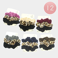 12 Set of 3 - Solid Color and Leopard Velvet Scrunchies Hair Bands