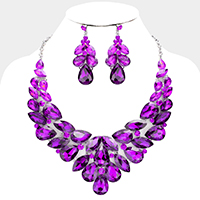 Teardrop Marquise Crystal Evening Necklace