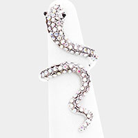 Rhinestone Pave Snake Coil Ring