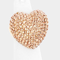 Rhinestone Pave Heart Stretch Ring