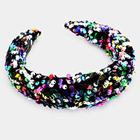 Embellished Furry Sequin Headband