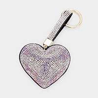 Embellished Rhinestone Heart Key Chain