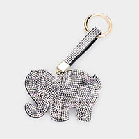 Embellished Rhinestone Elephant Key Chain