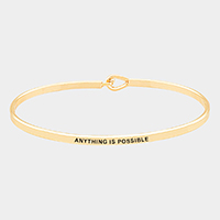 Anything is Possible Brass Thin Metal Hook Bracelet