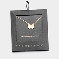 Secret_box - 14K Gold Dipped Butterfly Pendant Necklace