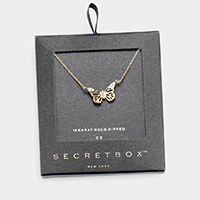 Secret_box - 14K Gold Dipped CZ Butterfly Pendant Necklace
