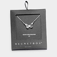 Secret_box - White Gold Dipped CZ Butterfly Pendant Necklace