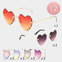 12PCS - Heart Sunglasses