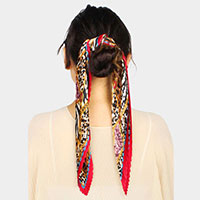 Animal Print Pleated Satin Scarf / Headband / Hair Band