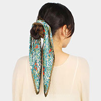 Flower Print Pleated Satin Scarf / Headband