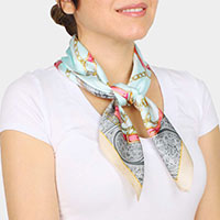 Equestrian Print Pleated Satin Scarf / Headband / Hair Band