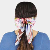 Flower and Stripe  Print Satin Scarf / Headband / Hair Band