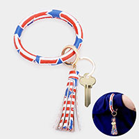 Patriotic USA Flag Faux Leather Tassel Key Chain / Bracelet