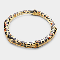 Leopard Pattern Bamboo Feel Bangle Bracelet