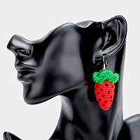 Knitted Bead Strawberry Dangle Earrings