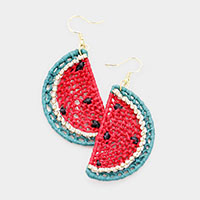 Straw Watermelon Earrings