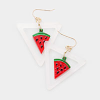 Centered Watermelon Triangle Earrings