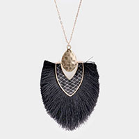 Snake Skin Tassel Pendant Long Necklace