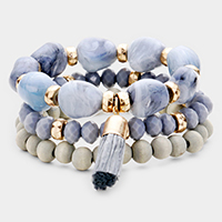 3PCS - Natural Stone Beaded Straw Tassel Stretch Layered Bracelets