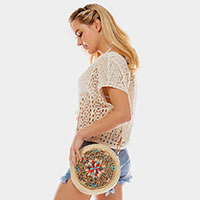 Beads and Shells Round Bead Straw Crossbody Bag