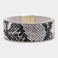 Reptile Faux Leather Magnetic Bracelet